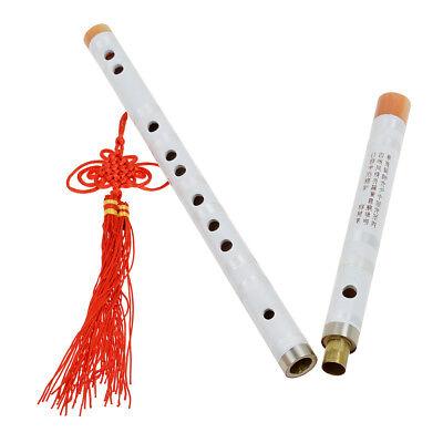 F Key Chinese Bamboo Flute Dizi Traditional Pluggable Musical Instrument White