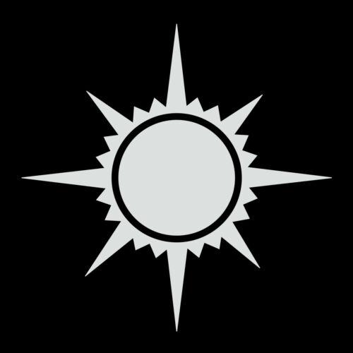 Sun Vinyl Decal - White 6 Inch