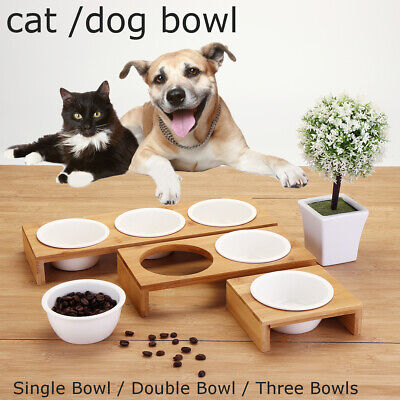 Pet Feeder Bowl Dog Cat Bamboo Ceramic Food Water Elevated Stand Dish 1/2/3 -
