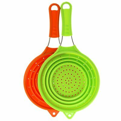 Collapsible Silicone Colander Kitchen Food Strainer Stainless Steel Handle Rinse