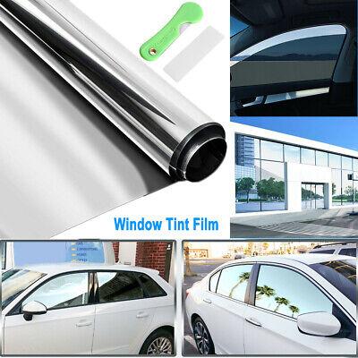 "20""X10FT Uncut Roll Window Mirror Silver Chrome Tint Film Car Home Office Glass"