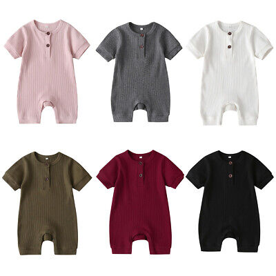 UK Solid Newborn Infant Baby Boy Girl Clothes Romper Jumpsuit Home Outfit Summer