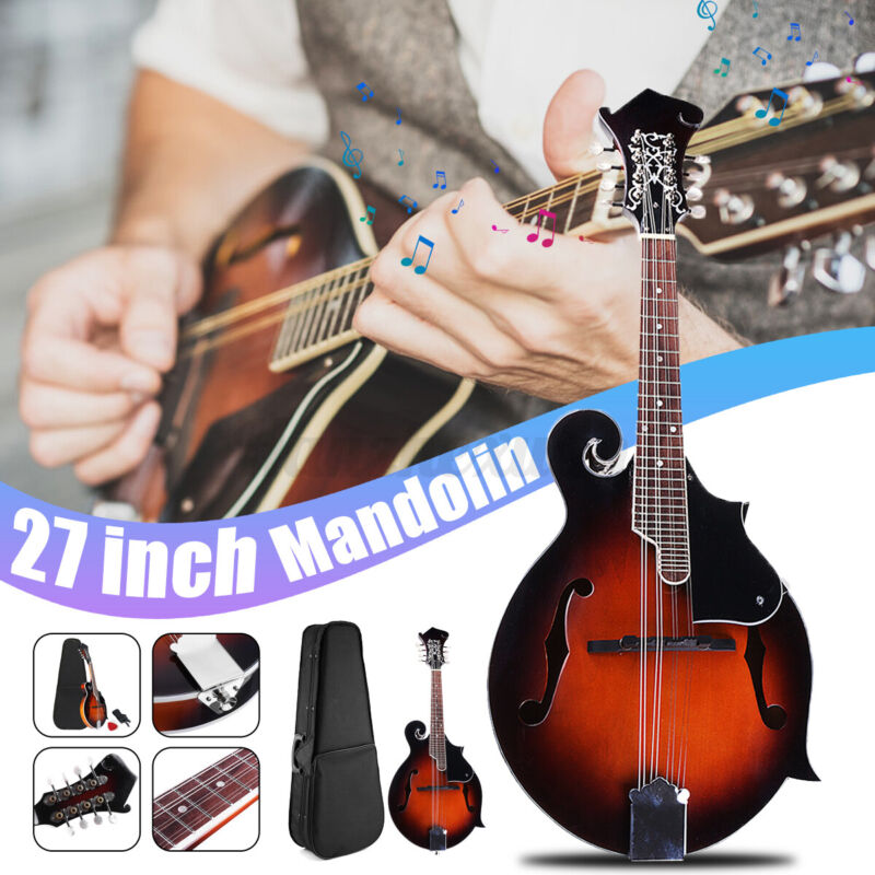 Paulownia Wood Solid F-Style Sunburst Mandolin 8 String 24 Fred with Case Gifts