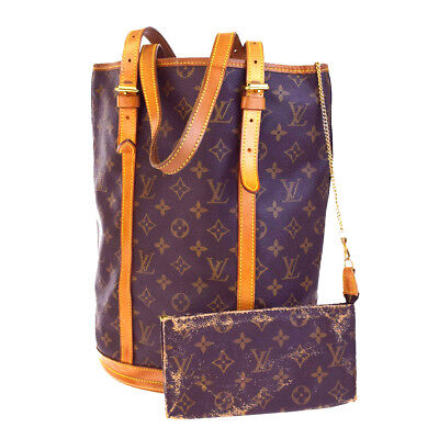 AUTH LOUIS VUITTON BUCKET GM SHOULDER TOTE BAG MONOGRAM LEATHER M42236 09BA132