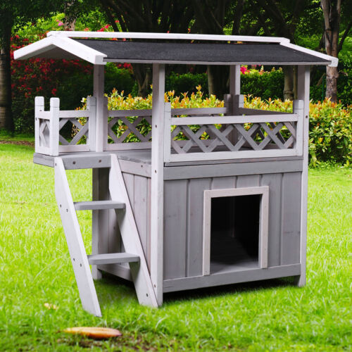 Dog House Outdoor Shelter Roof Cat Condo Wood Steps Balcony Puppy Stairs Grey