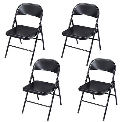 Set of 4 Folding Chairs Steel Home Office Garden Furniture Portable Black New