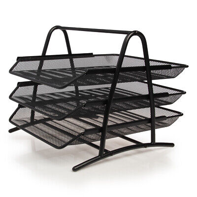 Mesh Notebook Letter Tray 3 Tier Desk Organizer For Office Supplies File Folders