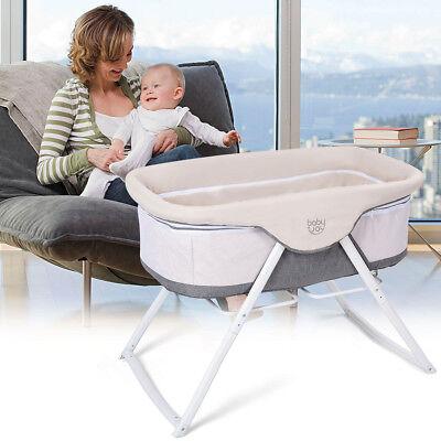 Foldaway Baby Bassinet Crib Newborn Rocking Sleeper Traveler Portable w Bag Gray
