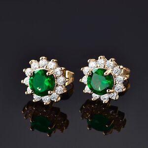 Brilliant Vintage Ladies Green Emerald Flower Stud Earrings 24K Gold Fillled