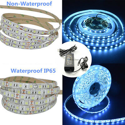 300LEDs 5050 Ice Blue Light LED Flexible Strip With Power Supply DC12V ()