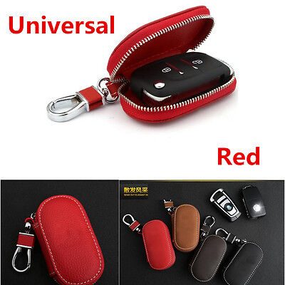 Universal 1Pcs Red Leather Fashion Car Truck Smart Remote Key Holder Bags Cases