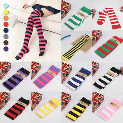 Women Lady Sexy Plus Size Striped Thigh High Socks Sheer Over Knee Long Stocking - Striped Stockings Plus Size