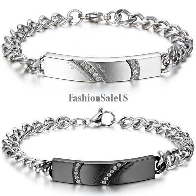 Stainless Steel Cz Couples Men Women Heart Bracelet Chain Bangle Valentine Gift