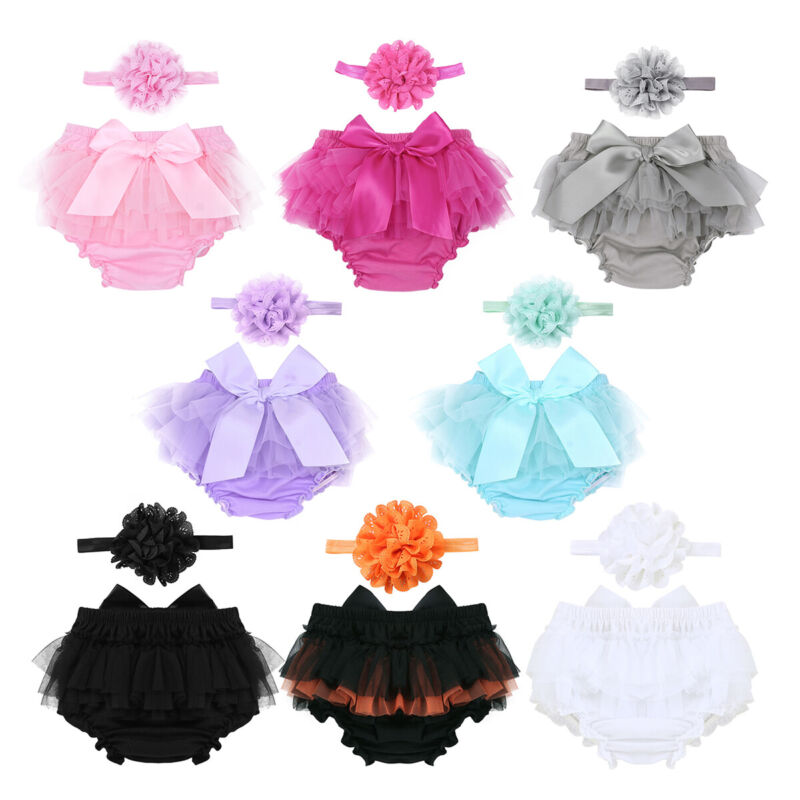 Purple Baby Girl Tutu Skirt with Headband Set Newborn Toddler Ruffle Tulle Diaper Cover Photography Prop Outfit Clothes