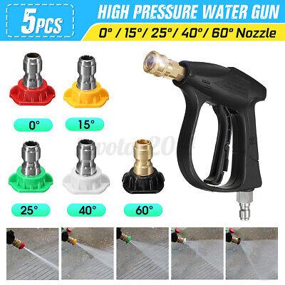 3000psi High Pressure Washer Spray Gun Lance Handle W 5quick Connect Nozzle Tip