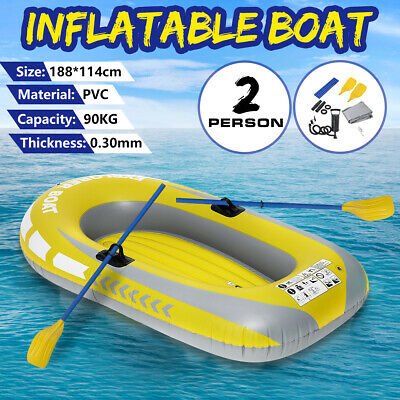 1.9M 2 Person Inflatable Dinghy Boat Kayak Rubber Boat With Oars and Pump  I