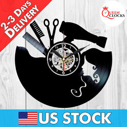 Hairdresser Salon Barber Shop Clock Art Vinyl Record Wall Home Decor Best Gifts