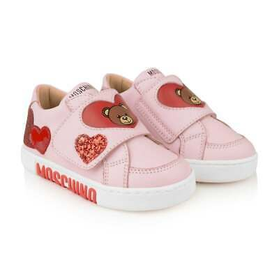 NIB NEW Moschino kids girls toddler pink leather teddy sneakers shoes 29 US 12 T