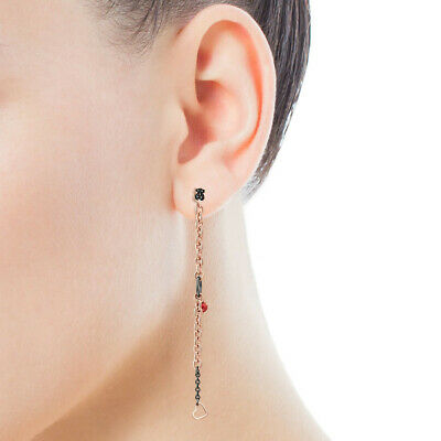 Heart Titanium Earrings - Rose Gold Plated Titanium Steel  Long Chain Bear Heart Peach Chalcedony Earrings