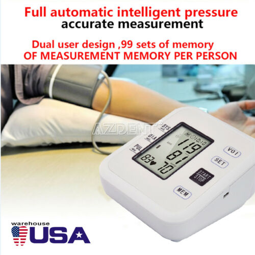 Digital Automatic Blood Pressure Monitor Meter Upper Arm Intellisense 99 Memory