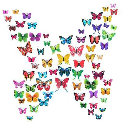 72pcs 3D Butterfly Fence Stickers Home Kids Living Room Decor Magnetic Removable
