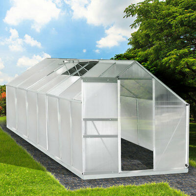 Aluminium Gewächshaus mit Stahlfundament 17,2 m³ Treibhaus Glashaus 6mm Platten