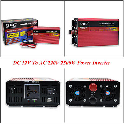 Car Vehicle 2500W Electronic Power Inverter Charger Converter DC 12V To AC 220V