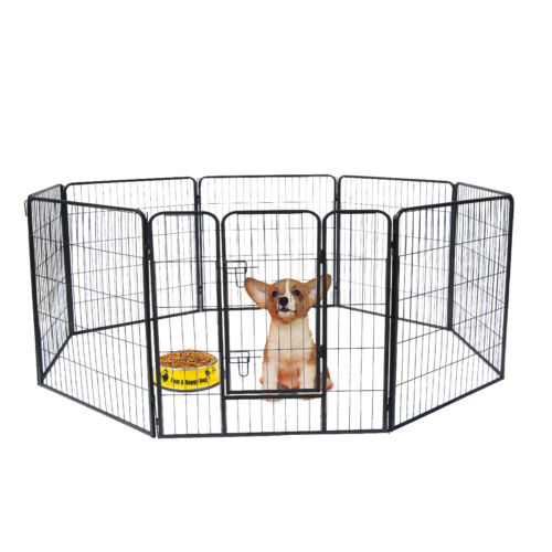 32 inch Tall Dog Playpen with Door, 8 Panel Folding Metal Puppy Exercise Pet NEW