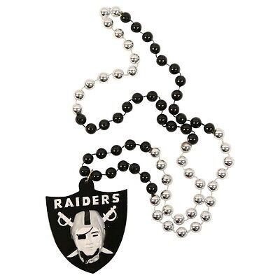 OAKLAND RAIDERS MARDI GRAS BEADS with MEDALLION NECKLACE NFL FOOTBALL (Football Bead Necklaces)