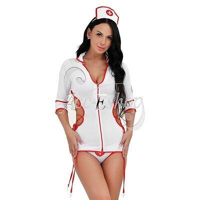 Women's Sexy Lingerie Halloween Cosplay Nurse Fancy Dress Garters Costume Outfit