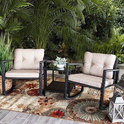 3 PC Rocker Rattan Wicker Furniture Table Chair Sofa Cushioned Patio -