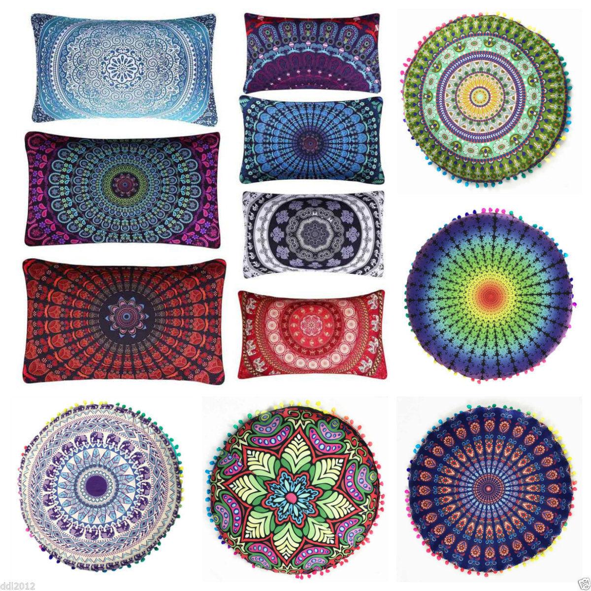 Indian Mandala Print Floor Pillow Throw Case Round Boho Cushion Cover Pouf Sham