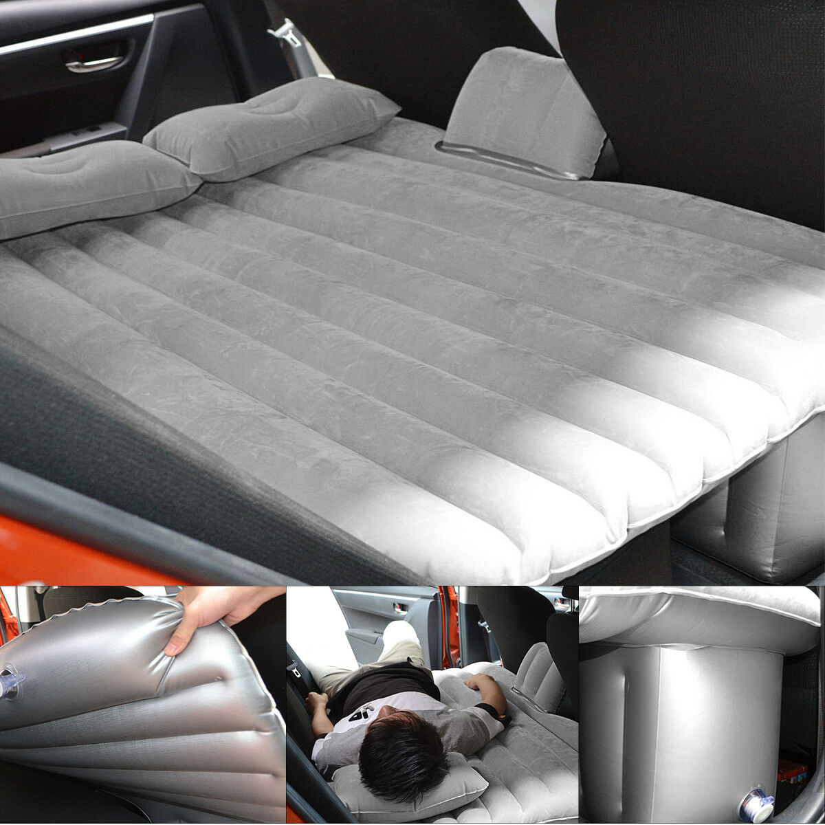 Car Air Mattress Travel Bed Flocking Inflatable Cushion Seat Car Bed For Camping Ebay