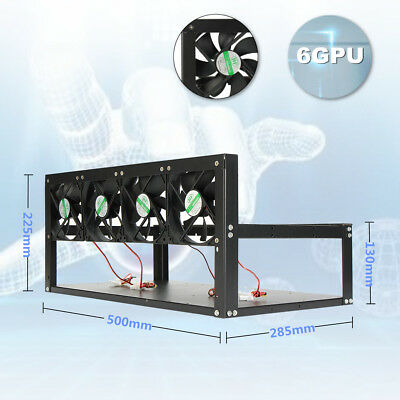 6 Gpu Mining Rig Steel Stackable Case Open Air Frame Eth Zec Bitcoin With 4 Fans