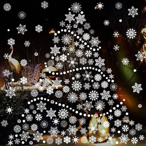 Christmas Window Decals.Details About 27pcs White Christmas Snowflake Window Sticker Self Clings Xmas Decor Classic