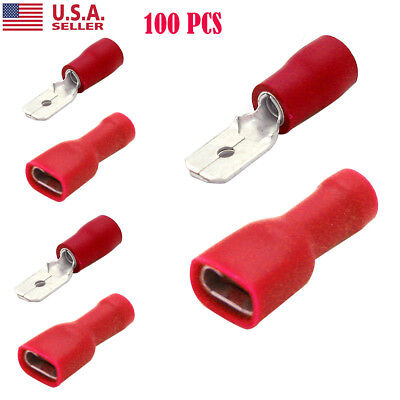 100X Male & Female Insulated Spade Quick Splice Wire Terminals Crimp Connectors