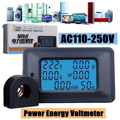 AC 110-250V 100A Digital LCD Panel Meter Monitor Power Energy Ammeter Voltmeter Lcd-panel-meter
