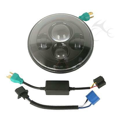 "Black 7"" Motorcycle Projector 4 LED Headlight For Harley Hi/Lo Beam Assemblies"