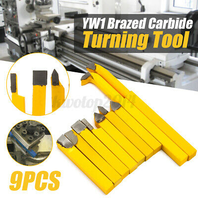 9pcs 8x8mm Yw1 Carbide Tipped Lathe Metal Cutter Bit Cutting Set Turning