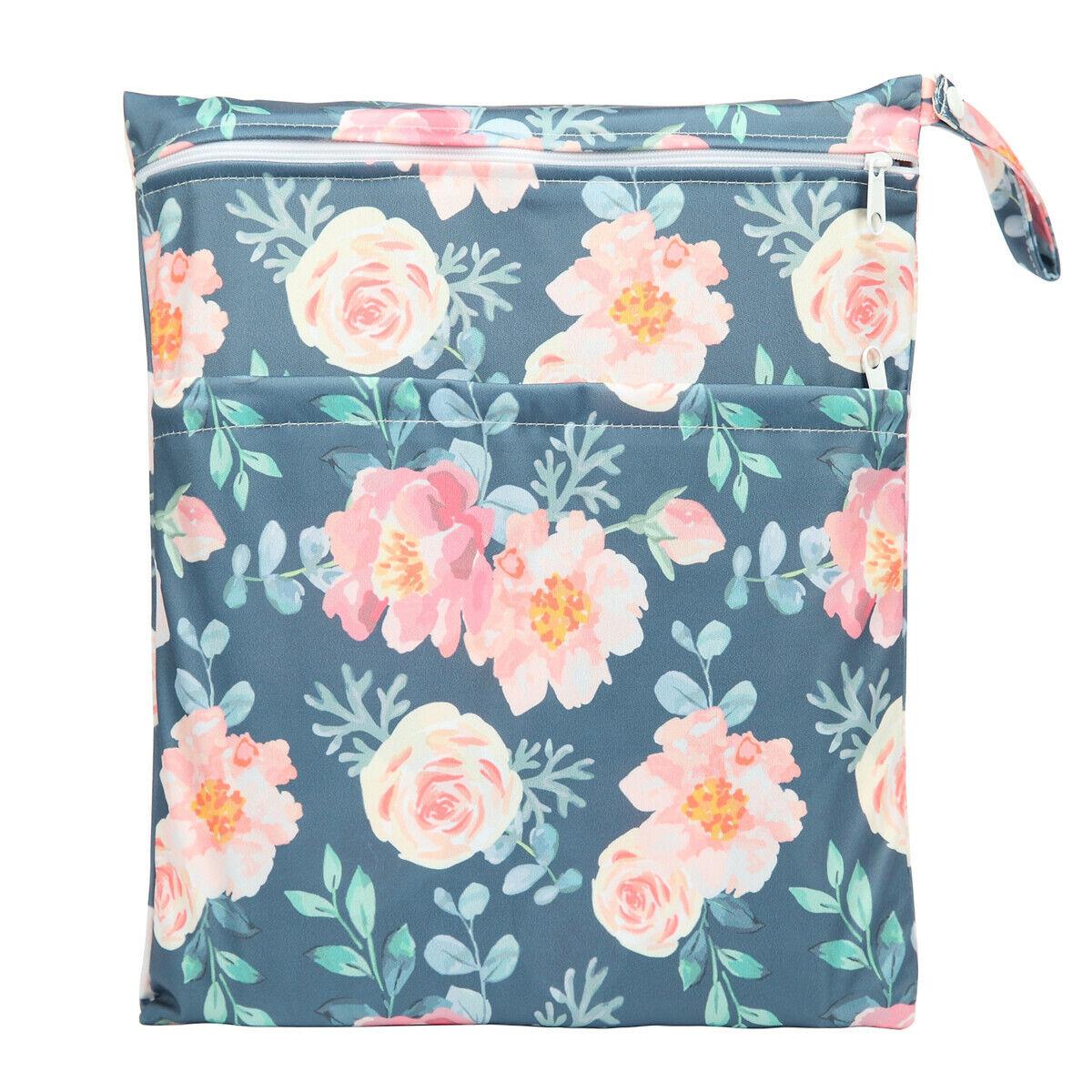 Details About Wet Dry Bag Baby Cloth Diaper Ny Reusable 2 Zipper Pocket Fl S