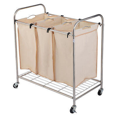 Beige Heavy-Duty 3-Bag Laundry Sorter Rolling Cart Hamper Organizer 4 Wheels