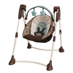Graco Swing By Me Portable 2-in-1 Swing with 3-position Reclining (Little Hoot)