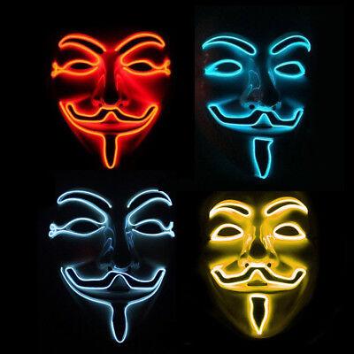 LED Anonymous Hacker Face Mask - Light Up Guy Fawkes V for Vendetta Fancy - Hacker Costume
