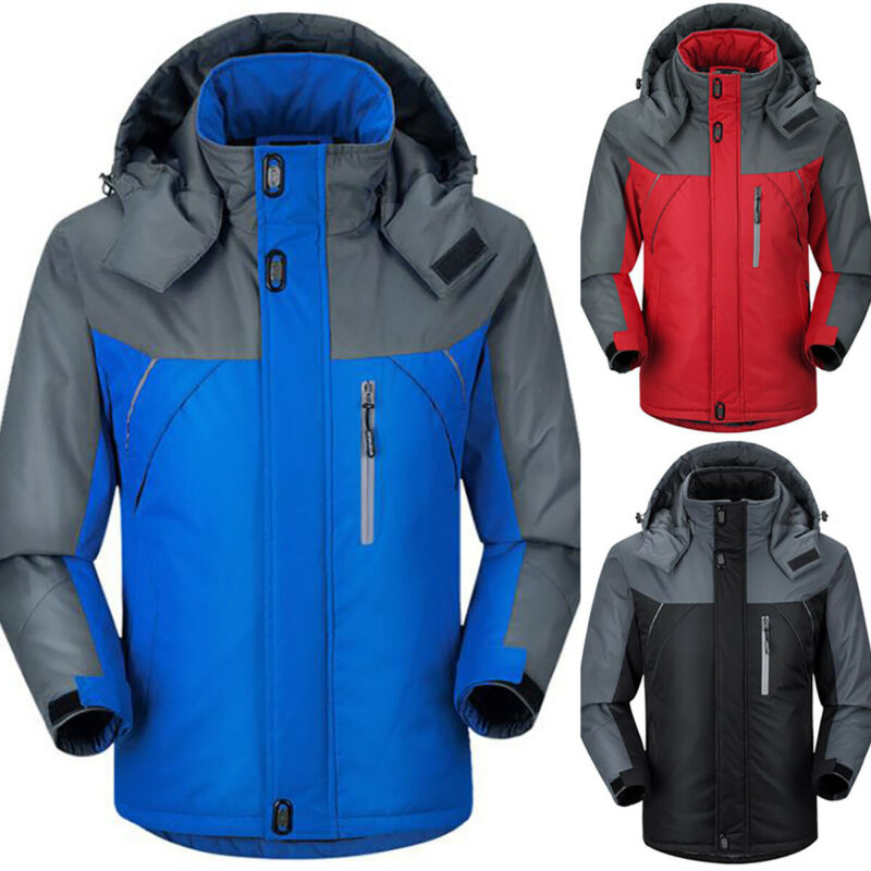 Details zu Herren Damen Fleece Winterjacke Kapuze Mantel Dick Wasserdicht Windbreaker Parka
