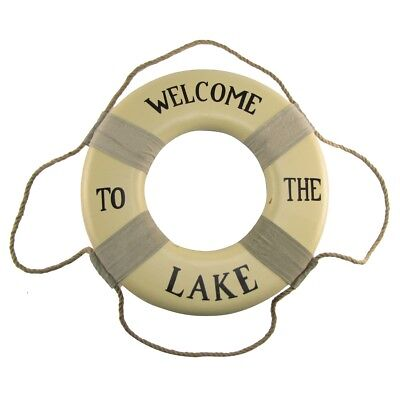Welcome To The Lake Life Preserver Saver Ring Sign Cabin/Lodge/Home Wall Decor - Life Preserver Decor