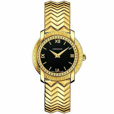 Versace Women's Watch DV25 Quartz Black Dial Yellow Gold Bracelet VAM050016