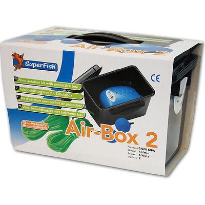 SUPERFISH AIR BOX 2 - Teichbelüfter Pumpe 2x Luftstein Eisfreihalter Teich Luft