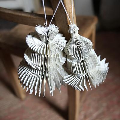 2 Printed Paper Decorations, Shabby Chic Party Xmas Wedding Bauble, Nkuku Small