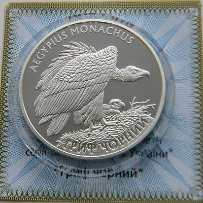 BLACK GRIFFIN Vulture Ukraine 2008 Silver 1 Oz Proof 10 UAH Bird Red Book KM#516