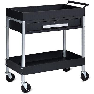 2 Shelf Tool Cart Utility Cart Service Cart Heavy Duty With Lock Drawer Wheels